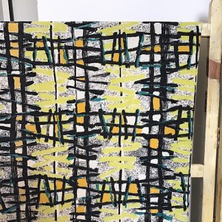 Mid century vintage fabric white base with yellow orange and turquoise hand painted squiggles. Thick black hand painted check